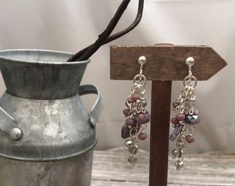 Purple cluster clip on earrings