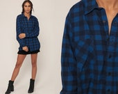 Grunge Flannel Shirt 90s BUFFALO PLAID Shirt Blue Lumberjack Button Down Vintage Oversize Long Sleeve 1990s Extra Large xl