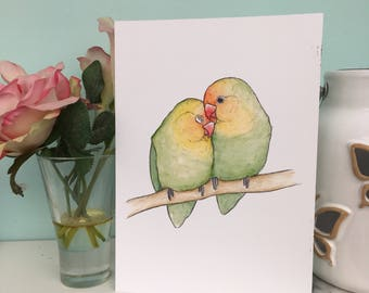 Cute Lovebird Art Print, 240gsm, A5 and A4 sizes, Colourful Parrot Painting Print, Couples Gift, Anniversary, Love, Cuddles