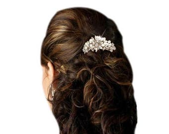 Wedding hair comb, silver hair comb, rhinestone hair comb, bridal hair comb, hair comb.