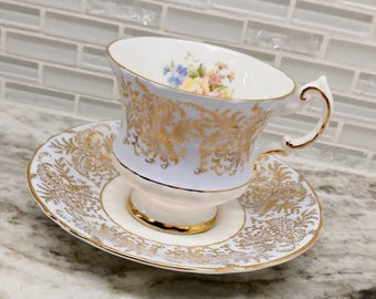 Vintage Paragon floral blue and gold gilt tea cup and saucer tea set, wedding gift, floral transfer, English bone china
