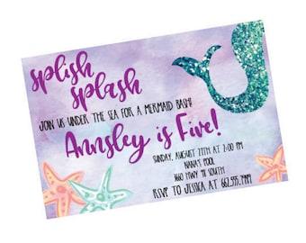Girls Birthday Invitation, Birthday Party Invite, Mermaid Birthday Party, Mermaid Invitation, Mermaid Party Decor, Mermaid Theme Invitation