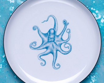 Plate with Octopus Illustrated porcelain dinner plate, Ceramic Plate, Hand drawn octopus, Nautical design, Turquoise, Dishwasher safe,