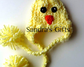 chirp chirp yellow furry baby chick hat with earflaps and pop pom braided tassels SPRING is coming- Newborn