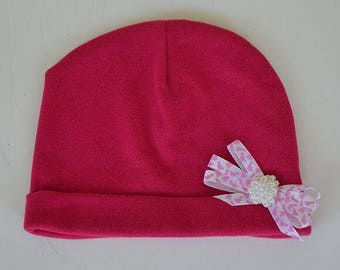 Baby Beanie Knit Hat Baby Bright Pink White Pink Bow Baby Gift Newborn to 6 Months Pink Stretchy Slouch Hat Baby Hats Photo Prop Outer Wear