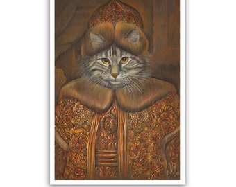 The Cat Boyar Art Print - Cat Lover Gifts and Cat Wall Decoration - in Russian Costume - Maine Coon - Cat Portraits by Maria Pishvanova