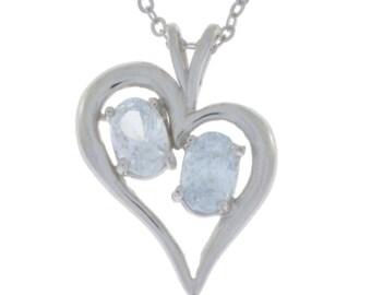 White Topaz Oval Heart Pendant .925 Sterling Silver