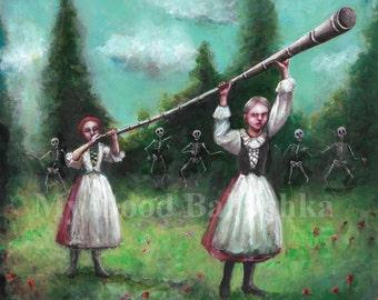 The Shepherd's Horn, Original Painting, Music, Alphorn, Ligawka, Horn, Last Judgement, Skeletons, Death, Danse Macabre, Macabre, Folk Tale
