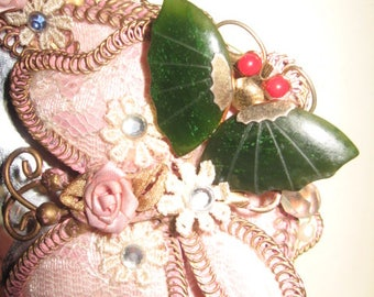 Red and green Jade butterfly pin brooch pendant. vintage 1960-1970's   alittleyellowcottage