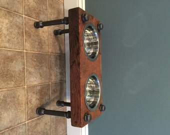 Reclaimed Barn Wood Raised Dog Feeder
