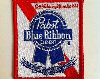 Pabst Blue Ribbon Beer Iron On Patch