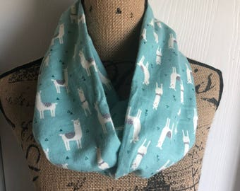 Llama scarf, Llama Lover Gift, Llama Gifts For Women, Alpaca Accessory, Infinity Scarf, March Birthday, Mothers Day Gift, Animal Lover Gift