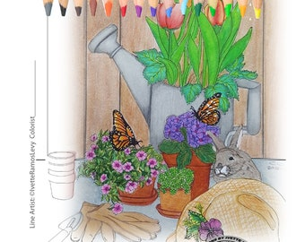 Coloring Book for Adults , Easter,Rabbit, garden ,flowers