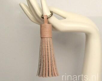 Tassel keychain / tassel keyring / fringe keychain in rose pink snake print embossed leather.