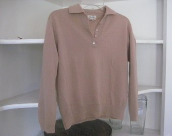 1950's Brown Sweater with Collar/ Button Sweater