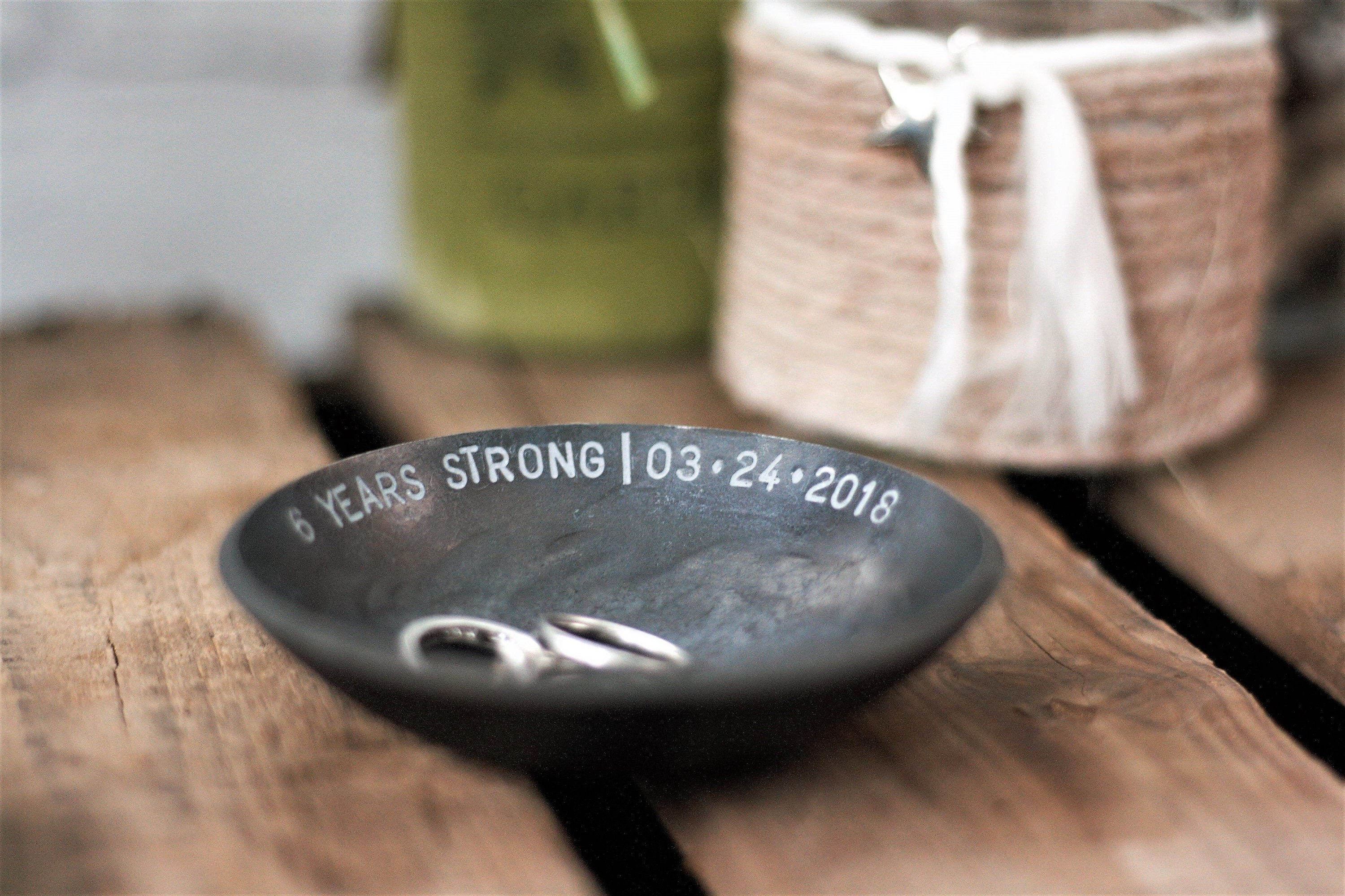 Iron Bowl 6th Anniversary gift for her personalized jewellery bowl ...