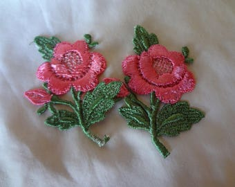Appliques 1970's Sew-On Pink Flowers Dead Stock Never Used