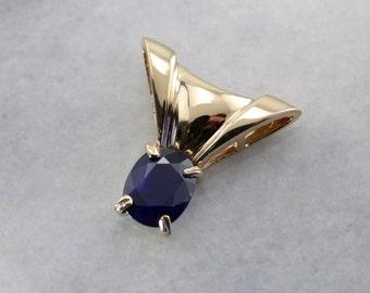 Dark Blue Sapphire Slide Pendant in Yellow Gold VT2R36-D
