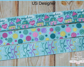 USD Home is anywhere my mom is / 3 yds / Mother's Day inspired ribbon / US Designer grosgrain ribbon / 7/8 / Glitter ribbon / 22mm