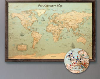 Push pin map etsy large personalized push pin world map 24x36 rustic style pin board mounted on gumiabroncs Gallery