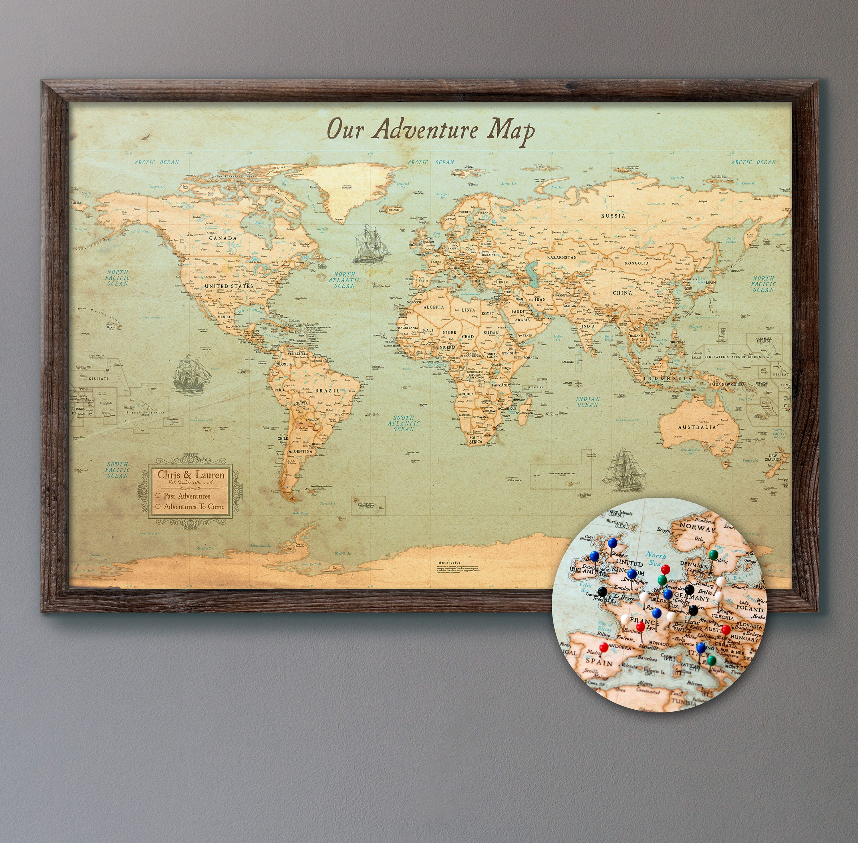 Large personalized push pin world map 24x36 rustic zoom gumiabroncs Gallery