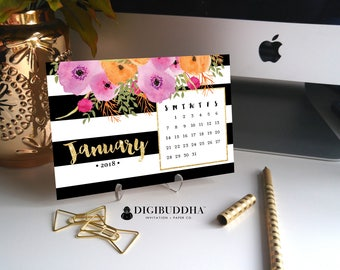 2018 FLORAL CALENDAR 2018 Planner Pretty Planner Desk Accessories Office Accessories 2018 Calendar Desk Calendar Office Calendar - Mady