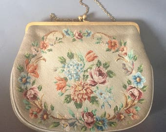 1950s needlepoint bag / peite point purse / tapestry