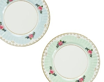 Sale 8 FLORAL TEA PARTY 11  Large Paper Plates Parisian Vintage Style Shabby Chic Garden Tea Time Mint Green Pink Blue Rose French Paris  sc 1 st  Etsy & Parisian paper plate | Etsy