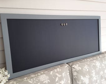 "Magnetic Chalkboard - Gray Neutral Designer Restaurant Menu Board 19 x 45"" Office Bulletin Board Home or Corporate Office Conference Room"