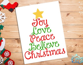 Joy Love Peace Believe Christmas SVG/DXF/PNG
