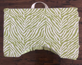 Lovely Lime Zebra Large Lap Desk with Right Side Pocket
