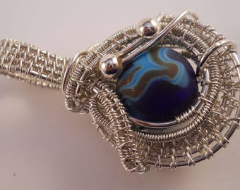 Sterling silver woven & wrapped round blue lampworked bead pendant with silver accent beads