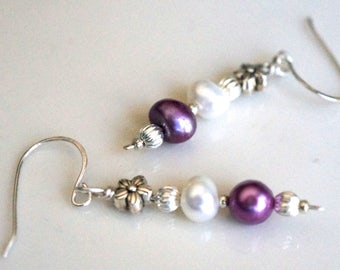 Sterling Silver Earrings with White and Purple Freshwater Pearls