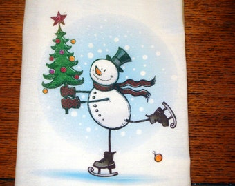 Christmas Snowman Flour Sack Kitchen Towel