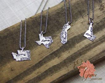 Silver State Necklace, Fine Silver and Sterling Silver, Precious Metal Clay, Home Necklace, Pick Your State