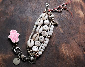 Tribal Primitive Bracelet - Naga Glass Cowrie Shell - Kuchi Charms and Padre Beads - Vintage Cream White -beadsnbones