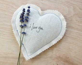Heart Lavender Sachet Something Blue Wedding Gift for Bride, I Love You Cotton Anniversary Gift for Wife