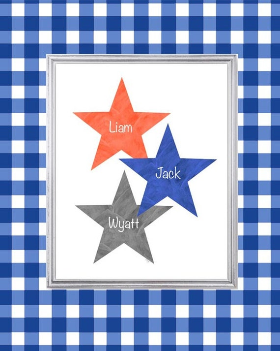 Boy Triplets Gift in Orange Navy and Gray, 8x10 Print