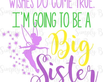 Tinkerbell I'm Going to be a Big Sister INSTANT DOWNLOAD Printable Digital Iron-On Transfer Design - DIY