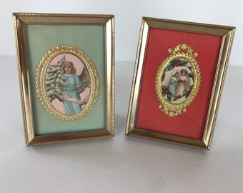 Two Small Framed Vintage Victorian Christmas Scenes