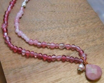 Wine Flush Gemstone & Pearl Necklace- Pink Gemstone Jewelry
