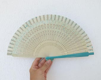 Cream Turquoise Fret Hand Fan SALE End of Design Clearance by Kate Dengra Ready to Ship Spanish Hand Held Fan