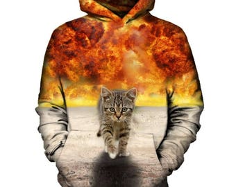 Cat Walking From Explosion Hoodie | Rave, EDM, Festival Hoodie