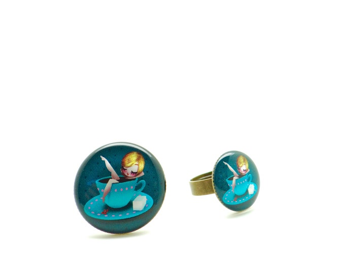 Resin ring ALICE - Allen & Adolie Day - collection La Plume at the ear (AD7)