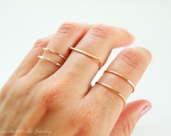 Stacking Ring, Double Band Ring, Midi Ring, Stacking Gold Ring, Gold Ring, Silver Ring, Rose Gold Ring, Band Ring, Stacked Gold Rings