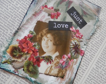 "SALE ACEO ATC one-of-a-kind Original ""Just Love"" Artist Trading Card"