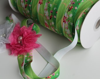 "5/8"" Fold Over Elastic FOE Green Floral"