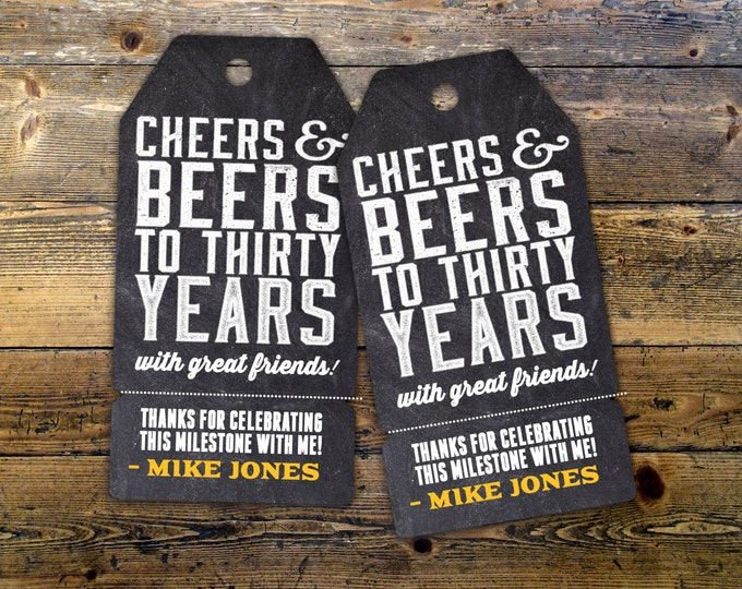 Roast and Toast, favor tag, retro birthday, retro party, saloon, cheers and beers, party favor, birthday invitation, 75th, 40th, 50th, 60th