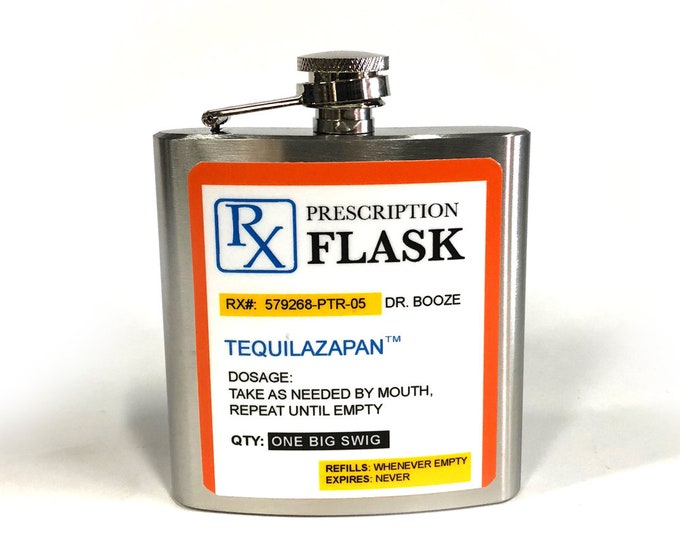 Flask 6oz, Prescription, customizable, Stainless Steel, groomsmen gift, gift for friends or yourself