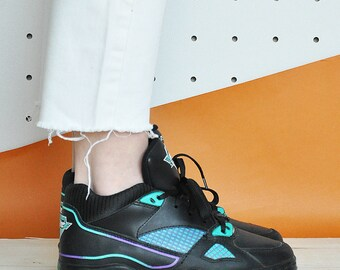 90s HI TOP sneakers RAVE sneakers club kid sneakers cheerleader sneakers leather sneakers mesh sneakers / Size 6 us / 3.5 uk / 36 eu
